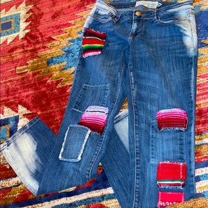 Free People Artisans of Luxe Patchwork Boho Jeans